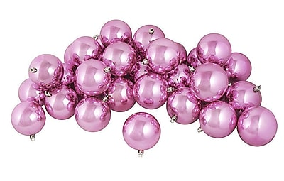 Northlight 60ct Shiny Bubblegum Pink Shatterproof Christmas Ball Ornaments 2.5