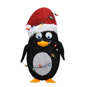 "Product Works 32"" Pre-Lit Candy Cane Lane 2D Penguin Christmas Yard Art Decoration - Clear Lights (31742557)"