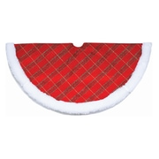 "Northlight 20"" Glitter Red Green and Gold Plaid Mini Christmas Tree Skirt with White Faux Fur Border (32231735)"