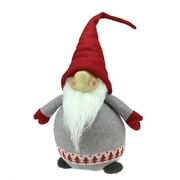 """Northlight 22"""" Gray and Red Portly Grinning Gnome Decoration with Nordic-Inspired Trim (31751875)"""