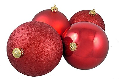 Northlight 4ct Red Hot Shatterproof 4-Finish Christmas Ball Ornaments 6