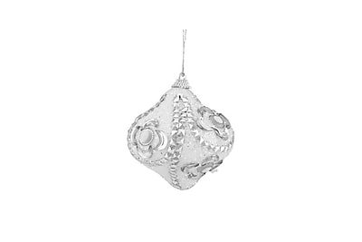 Northlight 3ct White and Silver Rhinestone and Glittered Shatterproof Onion Christmas Ornaments 3