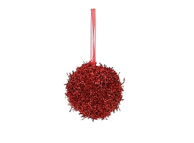 Northlight 3ct Fancy Red Holographic Glitter Drenched Christmas Ball Ornaments 3