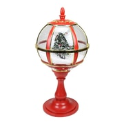 "Northlight 23.5"" Lighted Red and Gold Musical Snowing Christmas Tree Holiday Table Top Street Lamp (31743026)"