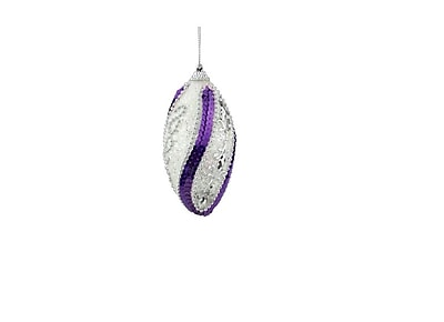 Northlight 4ct White Purple Sequined and Silver Beaded Shatterproof Christmas Finial Ornaments 4.5