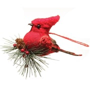 "Northlight 4.75"" Burlap and Plaid Cardinal on Pine Sprig Christmas Ornament (32263008)"