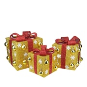 Northlight Set of 3 Gold Tinsel Gift Boxes with Red Bows Lighted Christmas Yard Art Decorations (31748740)
