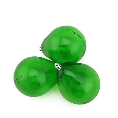 Northlight 3ct Xmas Green Transparent Teardrop Shaped Shatterproof Christmas Ornaments 4.75