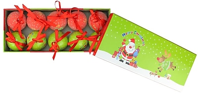 Northlight 10-Piece Red and Green Santa and Reindeer Decoupage Shatterproof Christmas Ball Ornament Set 1.75