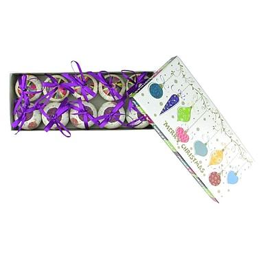 Northlight 10-Piece Purple and White Decoupage Shatterproof Christmas Ball Ornament Set 1.75