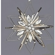 "Roman 5"" Vintage Silver Snowflake with Clear Gemstones Christmas Ornament (31751582)"