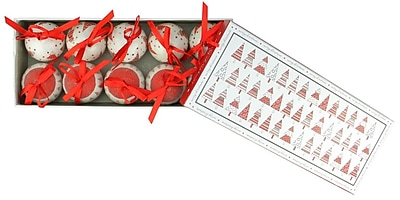 Northlight 10-Piece Red and White Decoupage Shatterproof Christmas Tree Ball Ornament Set 1.75