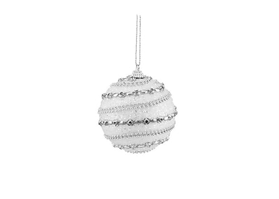 Northlight 3ct White and Silver Beaded Shatterproof Christmas Ball Ornaments 3