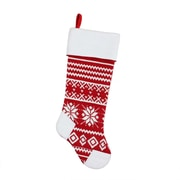 "Northlight 21.5"" Alpine Chic Red and White Knitted Snowflake Christmas Stocking with White Fleece Cuff (32229128)"