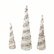 """Northlight Set of 3 Lighted Champagne Gold Rattan Candy Covered Cone Tree Christmas Yard Art Decorations 39.25"""" (31748716)"""