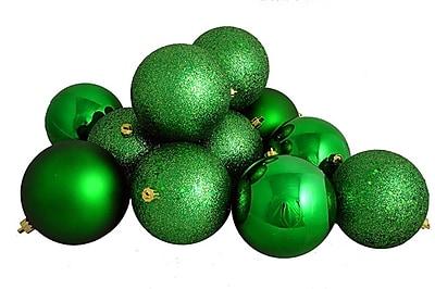 Northlight 12ct Shatterproof Xmas Green 4-Finish Christmas Ball Ornaments 4
