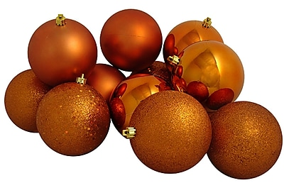Northlight 12ct Shatterproof Burnt Orange 4-Finish Christmas Ball Ornaments 4