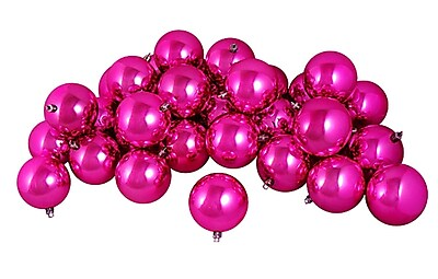Northlight 12ct Shiny Pink Magenta Shatterproof Christmas Ball Ornaments 4