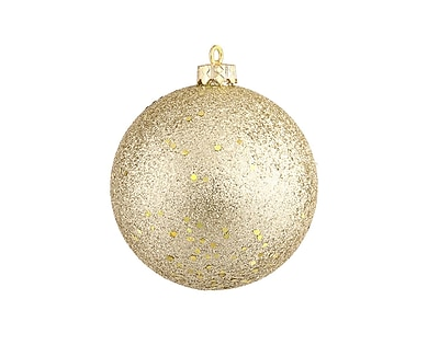 Northlight Champagne Gold Holographic Glitter Shatterproof Christmas Ball Ornament 4