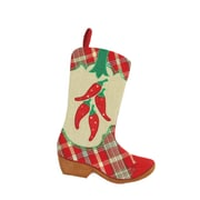 "Northlight 18.5"" Wild West Embroidered Chili Peppers Red Plaid and Brown Burlap Cowboy Boot Christmas Stocking (32229667)"