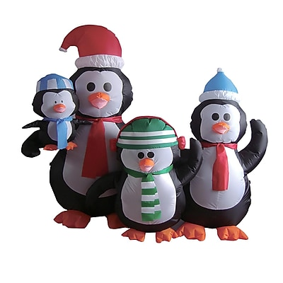 LB International 5' Inflatable Lighted Penguin Family Christmas Yard Art Decoration (32275095)
