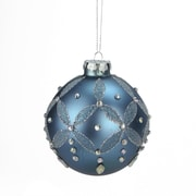 """A & B Floral 4"""" Winter Light Icy Blue Glittered and Jeweled Floral Glass Ball Christmas Ornament (31751087)"""