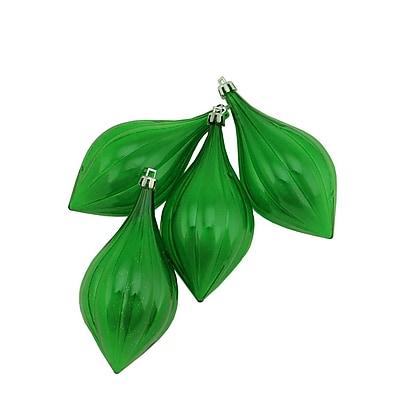 Northlight 4ct Xmas Green Transparent Shatterproof Finial Christmas Ornaments 5