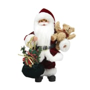 """Northlight 12"""" Santa Claus in Traditional Red Suit Holding a Teddy Bear and Gift Bag Christmas Figure (31734321)"""
