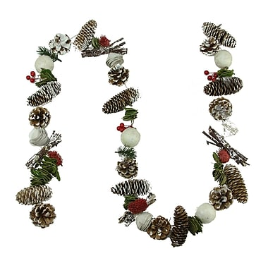 Northlight 5' Frosted Pine Cone Natural Twig Berry and Wooden Rose Artificial Christmas Garland - Unlit (31748436)