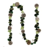 Northlight 5' Decorative Green Pine Cone Wooden Rose and Faux Pearl Artificial Christmas Garland - Unlit (31743095)