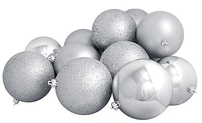 Northlight 12ct Shatterproof Silver Splendor 4-Finish Christmas Ball Ornaments 4