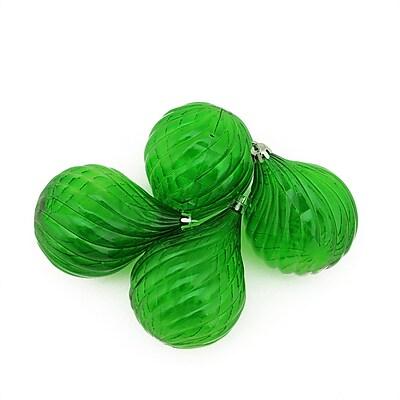 Northlight 4ct Xmas Green Transparent Finial Drop Shatterproof Christmas Ornaments 4.5