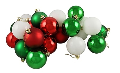 Northlight 24ct Matte/Shiny Red White & Green Shatterproof Christmas Ball Ornaments 2.5