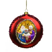 "Northlight 4"" Three Wise Men Sequin Religious Christmas Glass Disc Ornament (31752242)"