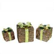Northlight Set of 3 Lighted Natural Rattan and Glitter Gift Boxes Christmas...
