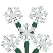 """Northlight Set of 20 Pure White LED Snowflake Christmas Lights 4"""" Spacing - Green Wire (31581096)"""