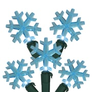 """Northlight Set of 20 Blue LED Snowflake Christmas Lights 4"""" Spacing - Green Wire (31581359)"""