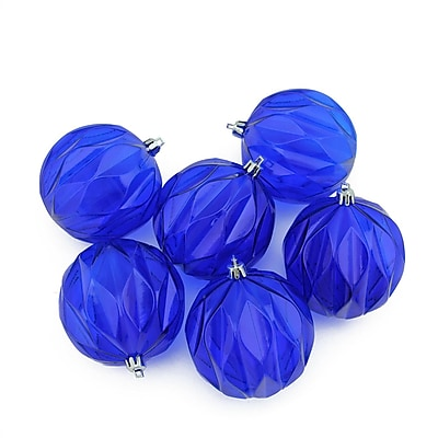 Northlight 6ct Lavish Blue Transparent Rhombus Cut Shatterproof Christmas Ball Ornaments 3