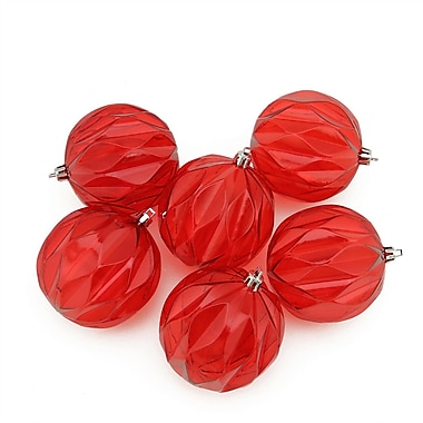 Northlight 6ct Red Hot Transparent Rhombus Cut Shatterproof Christmas Ball Ornaments 3