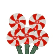 """Northlight Set of 20 Peppermint Twist Red and White Candy LED Christmas Lights 4"""" Spacing - Green Wire (31581357)"""
