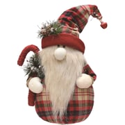 """Northlight 16.25"""" Red and White Plaid Sitting Santa Gnome with Candy Cane Plush Table Top Christmas Figure (32259308)"""