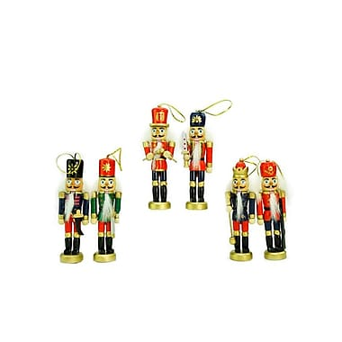 Northlight Pack of 6 Red Blue and Gold Decorative Wooden Christmas Nutcracker Ornaments 5