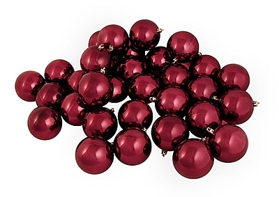 Northlight 12ct Shiny Burgundy Shatterproof Christmas Ball Ornaments 4