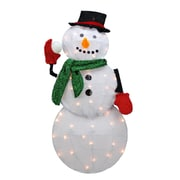 "Product Works 32"" Pre-Lit Candy Cane Lane 2D Winter Snowman Christmas Yard Art Decoration - Clear Lights (31742623)"