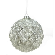 """A & B Floral 6"""" Winter Light Silver Glittered Faceted Mercury Glass Ball Christmas Ornament (31750709)"""
