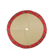 "Northlight 20"" Decorative Burlap Mini Christmas Tree Skirt with Red Plaid Border (32230909)"