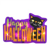 "Northlight 16.5"" Lighted ""Happy Halloween"" Sign with Black Cat Window Silhouette Decoration (32263142)"