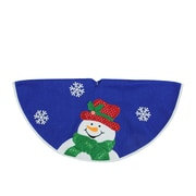 "Northlight 20"" Blue and White Mini Christmas Tree Skirt with Embroidered and Embellished Snowman (32230839)"