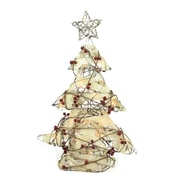 """Northlight 22"""" Pre-Lit Burlap and Berry Rattan Christmas Tree Table Top Decoration (31748464)"""