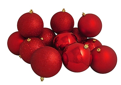 Northlight 12ct Shatterproof Red Hot 4-Finish Christmas Ball Ornaments 4
